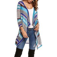 Women s 3 4 Sleeve Open Front Striped Draped Asymmetrical Knit Cardigan --  Learn more a9db50b86