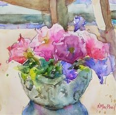 Art Diplomatic Original Hand Painting Drawing Watercolor Art Picture Flowers Vase Aceo Signed