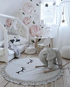 Baby Girl Nurseries - Looking for unique nursery ideas? Browse through our gallery of baby girl nurseries for some inspiration Baby Bedroom, Baby Room Decor, Girls Bedroom, Nursery Decor, Bedroom Decor, Nursery Ideas, Ideas Dormitorios, Nursery Wall Decals, Little Girl Rooms
