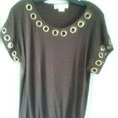 MICHAEL KORS Gold Hoops Top Gently used brown top. Very soft and comfy 95% RAYON 5% SPANDEX  Pair it with jeans and sandals. MICHAEL Michael Kors Tops