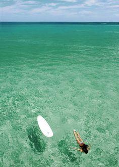 Surfing in green water. #sea #ocean #girl #travel