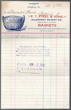Original 1912 Illustrated Billhead from The Allegheny Basket Company Vintage Ephemera, Digital Camera, Baby Items, Coupons, Stationery, Basket, Ebay, Paper Mill, Digital Camo