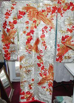 Uchitake, Antique, Silk kimono, hand embroidered.