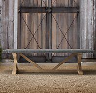 """Restoration Hardware's 84"""" Concrete & Teak Rectangular Dining Table:Our eclectic table pairs stout teak beams with an equally sturdy concrete top for a mix of materials that will age beautifully outdoors. Aluminum banding encircles the table's apron."""