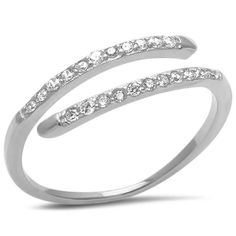 Bypass Wrap Midi Ring Wedding Engagement Ring Ring 925 Sterling Silver Round Diamond Clear CZ Petite Dainty Midi Engagement Wedding Ring