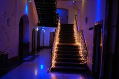 Gorgeous lights. Google Image Result for http://www.partylights.co.uk/images/gallery/Light_curtains_to_stair_rail_view_up_(2).jpg