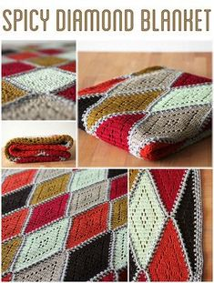 The Spicy diamond blanket consists of diamond motifs with a small filet crochet motif. Find the free pattern in English and Dutch on Haakmaarraak.nl!