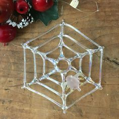 VTG Handcrafted Silvestri Iridescent Clear Glass Spiderweb Ornament Pink Spider #Silvestri