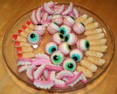 Fingers, eyes and teeth - yummy! #halloween http://kokeilevakeittokirja.blogspot.fi/2013/10/halloween-juhlat.html?m=1