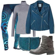 Outfit rock declinato nei colori petrolio e grigio. Leggings con fantasie geometriche, blu, maglioncino a collo alto grigio, semplice, giubbottino in pelle e tracollina scamosciata petrolio, bikers con fibbie grigie.