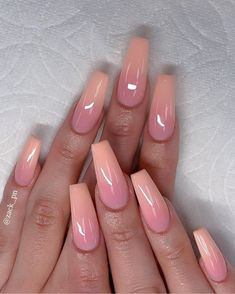 Cutest Pink Ombre Nail Designs & Photos for Girls in 2019 - Nails Art - Nageldesign Ombre Nail Designs, Acrylic Nail Designs, Nail Art Designs, Nails Design, Pink Ombre Nails, Purple Nail, Peach Nails, Glitter Nails, Ombre Nail Art