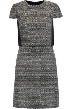 TORY BURCH Deandra layered bouclé-tweed and crepe dress. #toryburch #cloth #dress