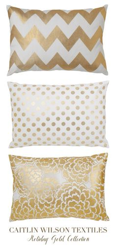 caitlin wilson design: style files: The Holiday Gold Collection is here! Living room or bedroom Gold Rooms, Gold Bedroom, Bedroom Decor, White Bedroom, Bedroom Ideas, Master Bedroom, Gold Accent Pillows, White Pillows, Gold Cushions