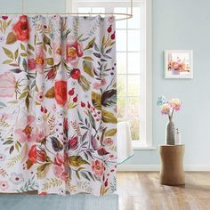 Uphome Floral Fabric Shower Curtain, Colorful Shabby Chic Rose Flower Cloth Shower Curtain 180 GSM Thick Water Repellent Pastel Spring Penny Bathroom Curtains for Shower with Hooks Set, 72 x 72