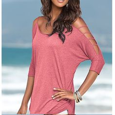2017 Women Sexy Tops Tees Summer Off Shoulder T Shirt Bandage Loose Pure #Affiliate
