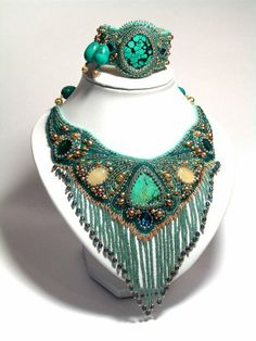 Bead Embroidery Jewelry, Beaded Embroidery, Beaded Jewelry, Jewellery, Belly Dance Jewelry, Button Art, Dress For Success, Collar Necklace, Beadwork