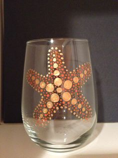 Stemless Starfish hand painted wine glass by DotSea on Etsy, $12.00