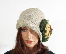 Crochet Cloche Hat with Large Flower  Beige/Grey