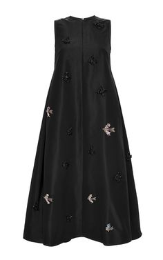 Sleeveless Faille A-Line Dress With Front Bird Embroidery by Rochas Now Available on Moda Operandi