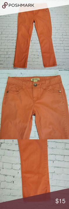 """Democracy Cropped Coral Jeans Lightweight. Not quite as bright as photos. Size 4. No holes, stains, etc. 98% Cotton 2% Spandex. Inseam: almost 25"""". 30"""" Waist. Democracy  Jeans Ankle & Cropped"""