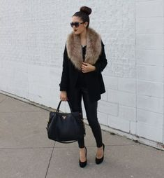 Fall Outfit Ideas With Faux Fur Stoles                                                                                                                                                                                 More