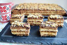 Prăjitura cu foi fragede cu nucă și cremă de lămâie - Rețete pentru toate gusturile Krispie Treats, Rice Krispies, Desserts, Food, Sweets, Tailgate Desserts, Deserts, Eten, Postres
