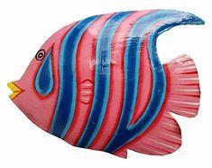 Hand-chiseled and Painted Tropical Metal Art Wall Decor Fish Painted Clay Pots, Cartoon Fish, Wood Fish, Fish Drawings, Fish Patterns, Nautical Art, Mosaic Crafts, Fish Design, Colorful Fish