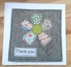 New patchwork colchas cuadros Ideas Fabric Cards, Fabric Postcards, Paper Cards, Diy Cards, Your Cards, Embroidery Cards, Free Motion Embroidery, Hand Embroidery, Handmade Thank You Cards