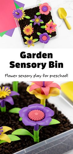 Let's dig into a garden sensory bin for some hands-on play, learning, and fun! This flower sensory bin is a great introduction for toddlers and preschoolers to explore planting and tending to a garden, all while learning about flowers. Turn it into a fun summer unit with some garden picture books, flower crafts, and nature walks. #gardensensorybin #flowersensorybin #kids #sensorybin via @firefliesandmudpies Sensory Tools, Sensory Bins, Sensory Activities, Sensory Play, Creative Activities For Kids, Easy Crafts For Kids, Fruit Picking, Garden Tool Set, Parts Of A Flower
