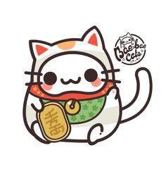 Neko Cat, Kawaii Cat, Maneki Neko, Kawaii Anime, Kitty Cats, Japanese Cat, Japanese Cartoon, Kawaii Stickers, Cat Stickers