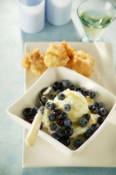Blueberry Risotto Fritters with Blueberry-Ginger Sauce