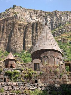 Armenia - Geghard monastery is the unsurpassable masterpiece of the 13th century Armenian architecture. The complex is rich in subtle sculptural embellishments and many striking khachkars (cross-stones).