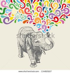 The elephant with colorful  abstract fountain. Hand drawn vector illustration. Can be used separately from backdrop or postcard. - stock vector