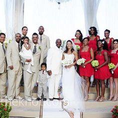 Real Weddings - Exotic Glam - Red Bridesmaid Dresses