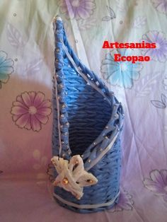 Artesanias Ecopao: Paso a paso de porta vinos, tejido en papel.