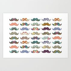Mustache Mania Art Print by Bianca Green - $18.00