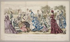 The New Extra Enlarged Fashion Plates of 15 Figures Comprising 12 Ladies and 3 Childrens Dresses of the Latest Paris Fashions | Léon Sault | V Search the Collections