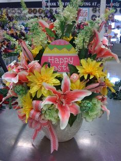 Easter Spring floral arrangement centerpiece by Pam L, Garland, TX