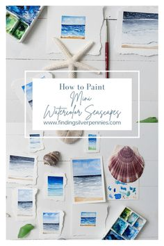 Learn to paint the sea in watercolor - How to Paint Mini Seascapes in Watercolor with Video Tutorial   Finding Silver Pennies #watercolorinspiration #watercolorart #coastal #seascapes #summer Watercolor Brushes, Watercolor Paintings, Watercolor Ideas, Coastal Style, Coastal Decor, Today Is My Birthday, Learn To Paint, Pennies, Art Education