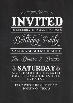 Chalkboard Birthday Invitation DIY Printable 1700 Via Etsy Diy Invitations