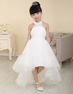 White Flower Girl Dresses Halter Bow Hi Lo Ruched Lovely A Line Organza Pageant Dress_Flower Girls Dresses_Wedding Party Dresses_Wedding Dresses Flower Girls, Tulle Flower Girl, Cheap Flower Girl Dresses, Organza Flowers, Cute Dresses, Formal Dresses, Formal Wear, Robes Tutu, Tulle Tutu