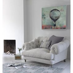 """""""""""We read to know we're not alone."""" (William Nicholson) How bout this cute reading nook with my hot air balloon #painting #artinreallife #abstract"""""""