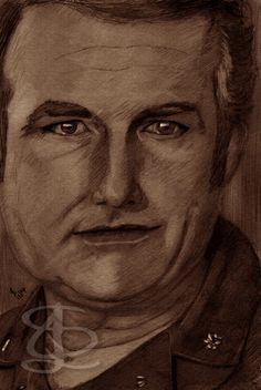 Shane Rimmer as Commander Carter in 'The Spy Who Loved Me'. Freehand sketch using HB pencil and eraser. Darkened, tinted etc. digitally.
