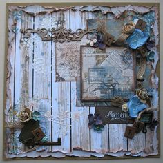 Premade Scrapbook Page 12 x 12 Shabby Chic by DianesNiceties