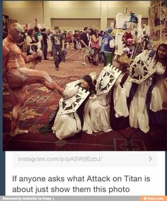 Hahaha totally! Such clever cosplay. Shingeki no Kyojin aka Attack on Titan