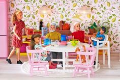 The 2015 Lundby Småland Doll's House which has had seen quite a make-over. It retains all its classic lines but inside, the main living area is now open-plan to reflect current lifestyle preferences and a whole new funky green kitchen furniture set featuring a servery island and pink fridge!