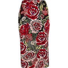 Jupe crayon à fleurs rouge