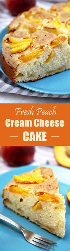 Fresh Peach Cream Cheese Cake is light and simple summer cake that is easy to make and is eaten quickly. Cream cheese and fresh peaches make it so good.