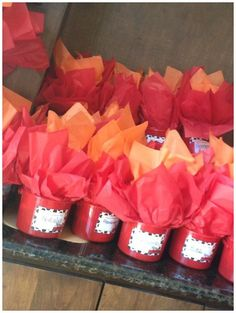 Fire favor buckets for a fireman party.  Fill the fire with goodies! #PartyFavors #Fireman