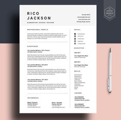 "Resume template for Ms Word, CV template with FREE Cover Letter, Professional cv design, Creative, Simple, Modern, Teacher Resume | ""ONTO"""